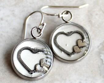 heart earrings on sterling silver ear wires