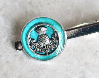 Scottish thistle tie bar, aqua tie clip