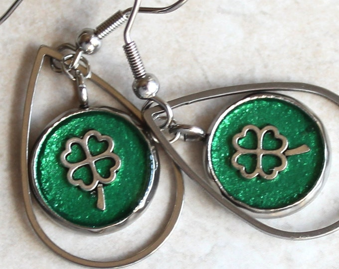 four leaf clover earrings on stainless steel ear wires