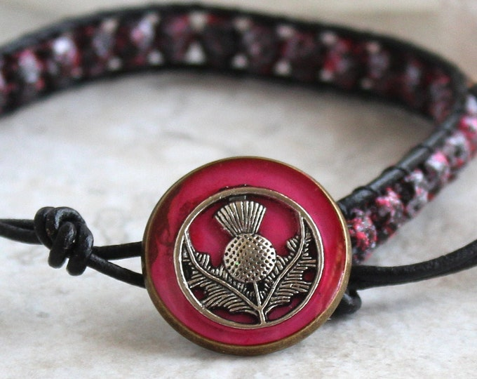 Scottish thistle bracelet with Czech glass beads and leather cord