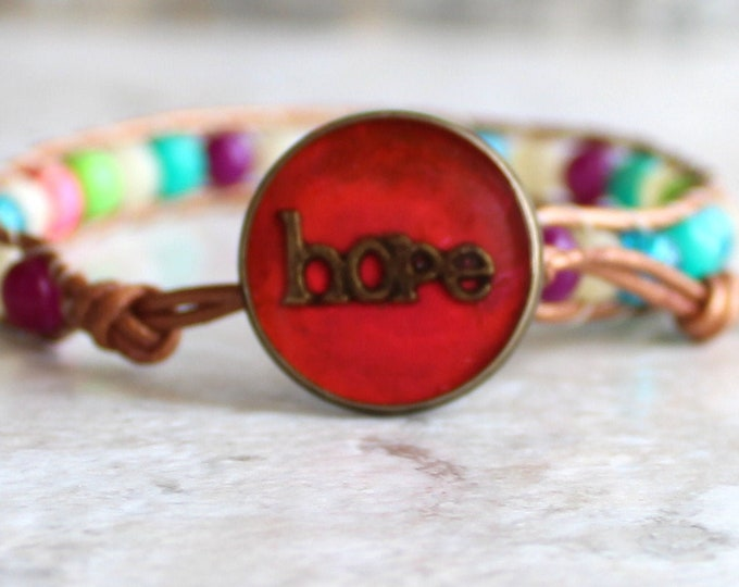 hope inspirational bracelet with leather cord and colorful glass beads