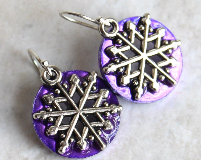 purple snowflake earrings, snowflake jewelry, winter jewelry, Christmas earrings, nature jewelry, unique gift