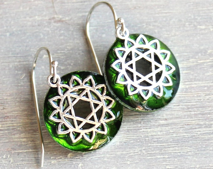 Anahata heart fourth chakra earrings on sterling silver ear wires