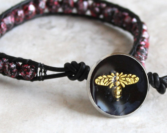 honeybee bracelet with Czech glass beads and leather cord