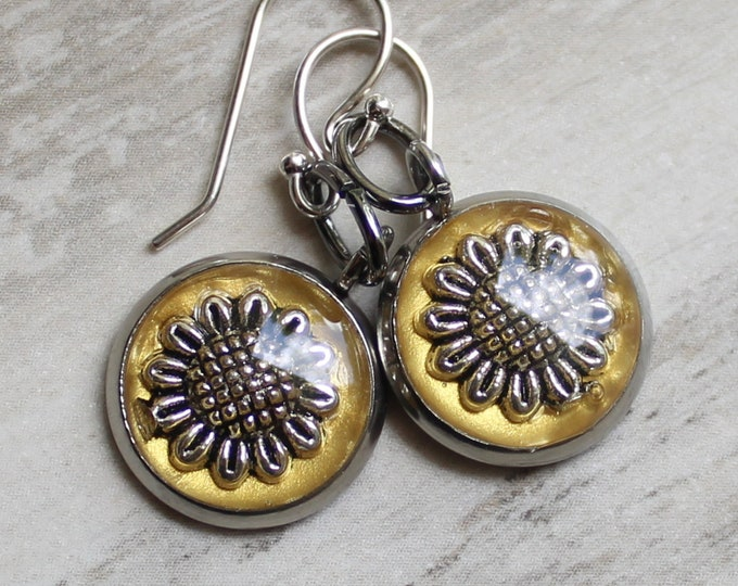 sunflower earrings with sterling silver ear wires
