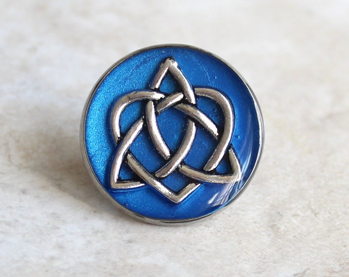 blue celtic knot tie tack, lapel pin, triquetra tie tack, celtic jewelry, mens jewelry, wedding party, groomsmen gift, groom gift