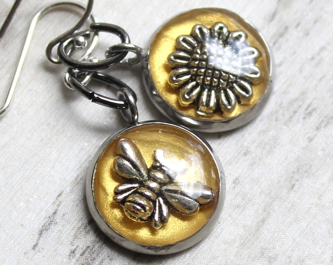 bee and sunflower earrings with sterling silver ear wires