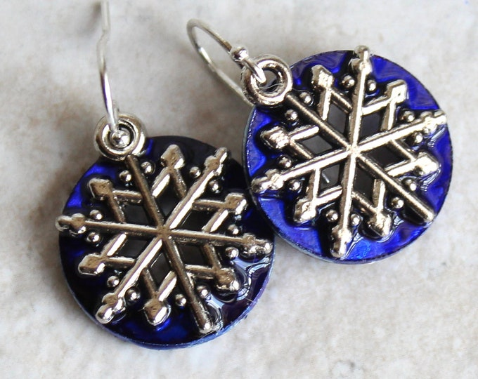 royal blue snowflake earrings, snowflake jewelry, winter jewelry, Christmas earrings, nature jewelry, unique gift