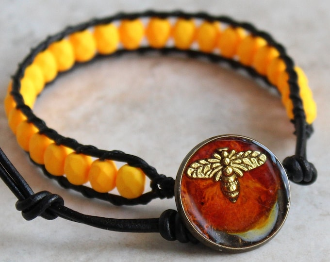 bee bracelet with Czech glass beads and leather cord