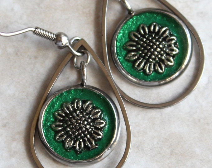 sunflower earrings on stainless steel ear wires