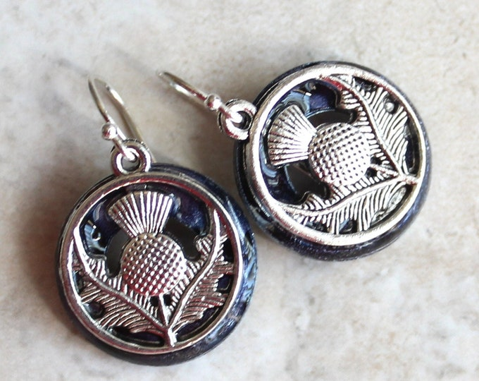 heather Scottish thistle earrings on sterling silver ear wires