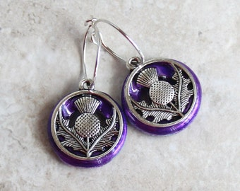 purple Scottish thistle earrings on sterling silver hoops