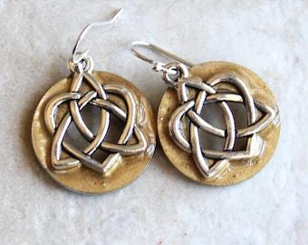 Celtic sister knot earrings on sterling silver ear wires