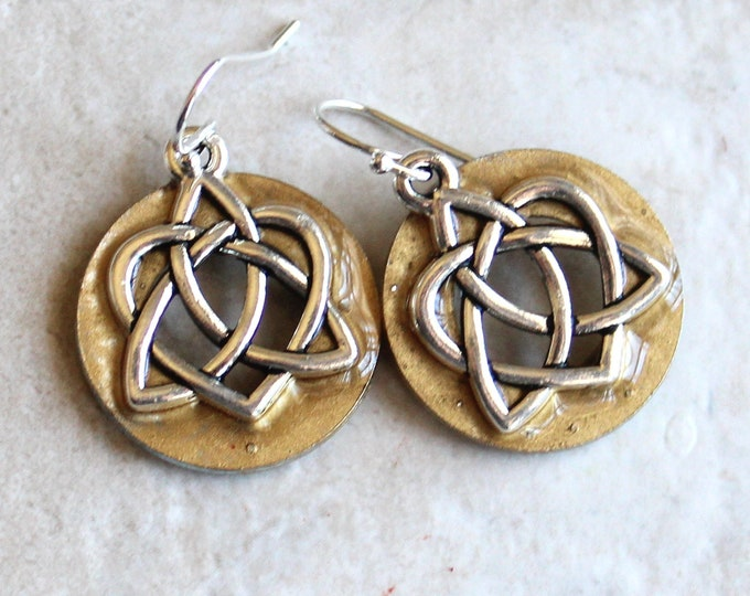Celtic sister knot earrings on sterling silver ear wires