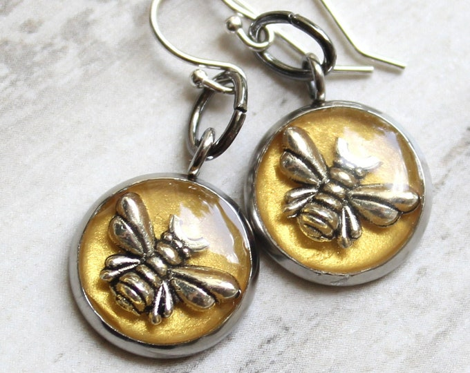 bee earrings with sterling silver ear wires