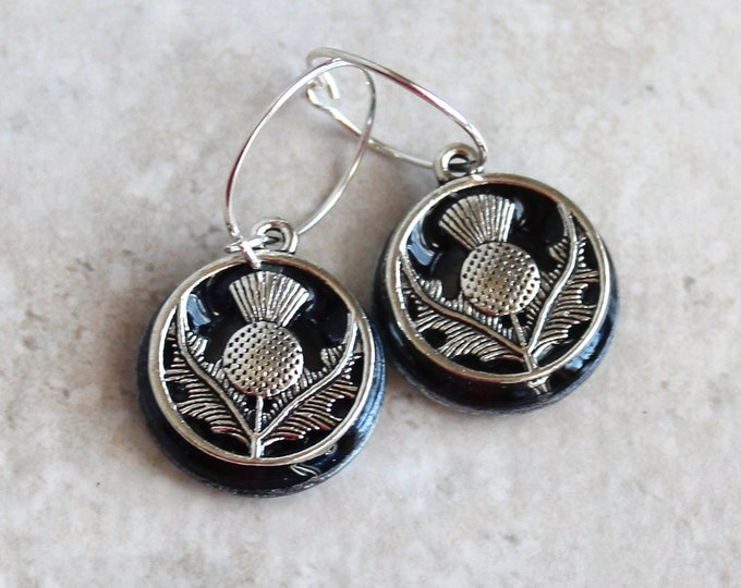heather Scottish thistle earrings on sterling silver hoops