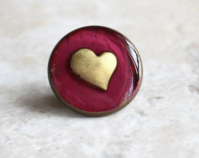 wine heart lapel pin, heart tie tack, mens jewelry, valentine gift, anniversary gift, unique gift, heart jewelry, wedding jewelry