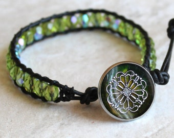filigree flower bracelet with Czech glass beads and leather cord