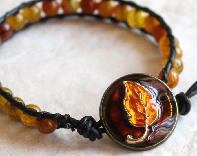 leaf bracelet with agate beads and leather cord
