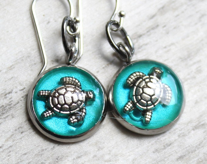 turtle earrings with sterling silver ear wires