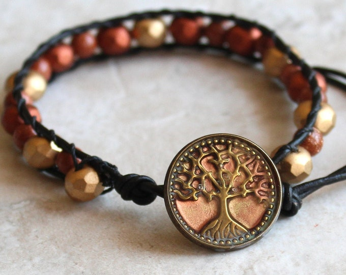Tree of life bracelet with Czech glass and goldstone beads