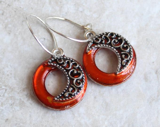 crescent moon earrings on sterling silver hoops