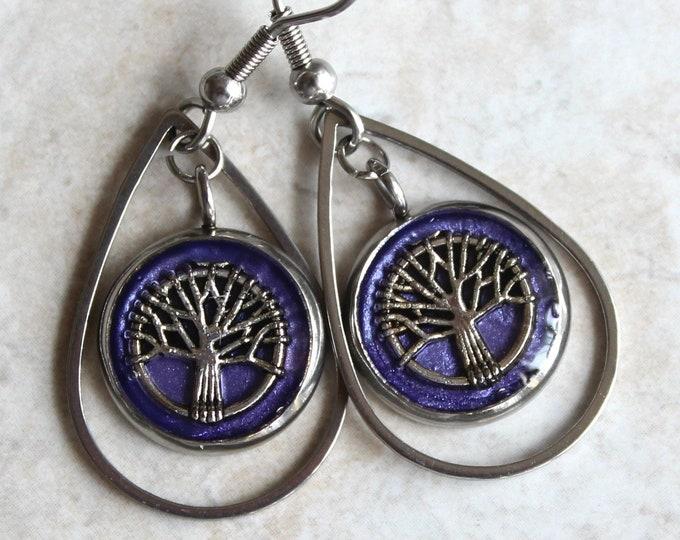 tree of life earrings on stainless steel ear wires