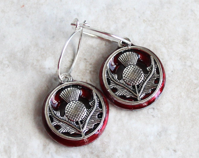 red Scottish thistle earrings on sterling silver hoops