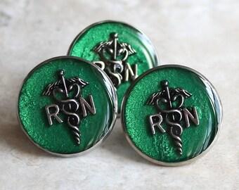 registered nurse pin, green, RN pinning ceremony
