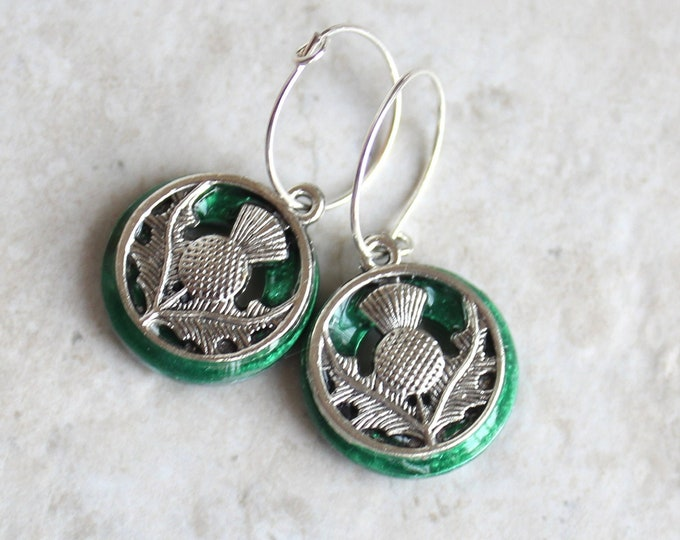 emerald green Scottish thistle earrings on sterling silver hoops