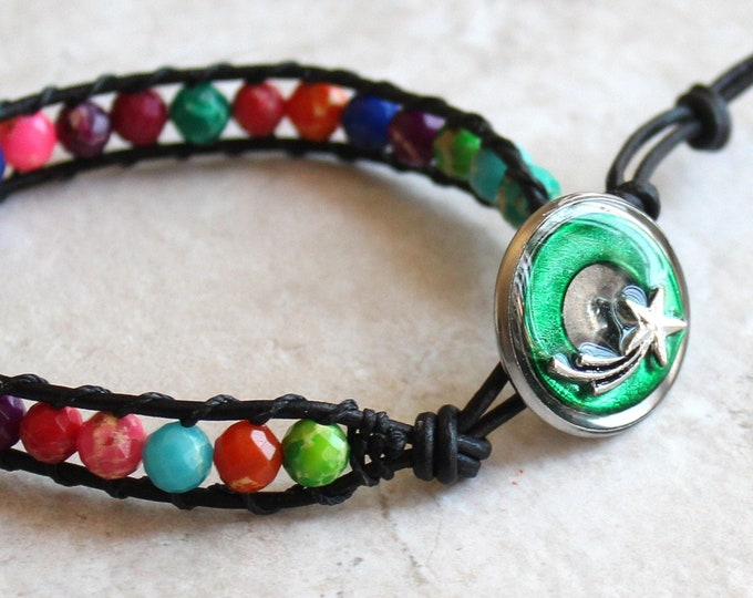 shooting star bracelet with impression jasper beads and leather cord