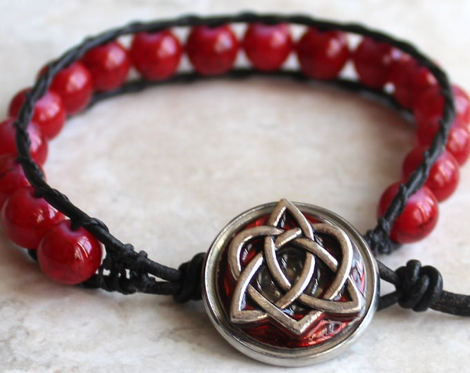 Celtic sister knot bracelet with chunky red glass beads and leather cord, Valentine gift