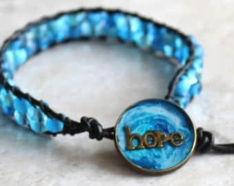 hope inspirational bracelet with blue glass beads