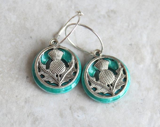 aqua Scottish thistle earrings on sterling silver hoops