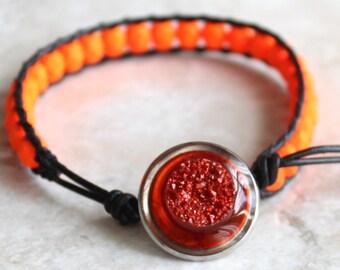 druzy style bracelet with neon orange glass beads