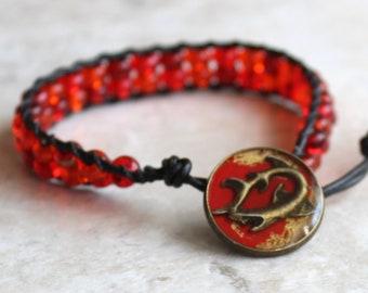 shark bracelet with red / orange glass beads