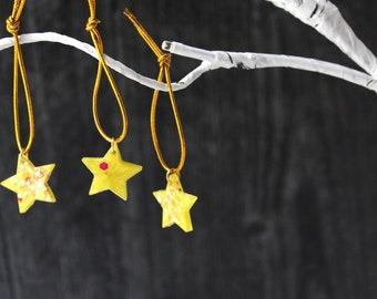 star ornaments, set of 12, table top tree ornaments, tree decorations, miniature tree, yellow