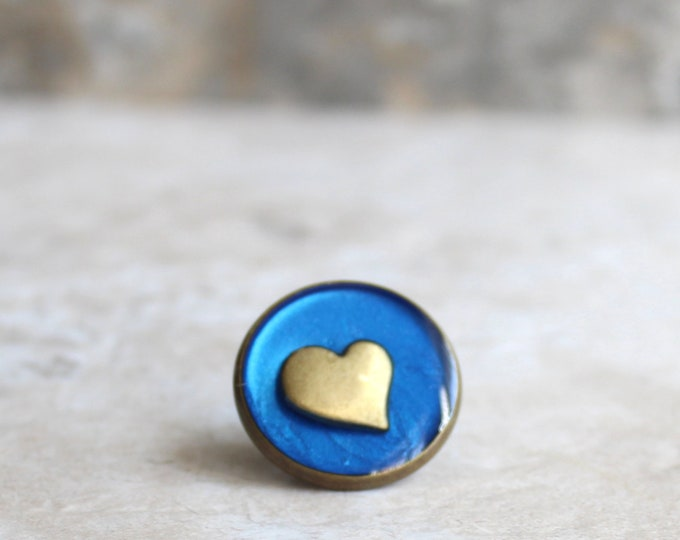 blue heart lapel pin, heart tie tack, mens jewelry, valentine gift, anniversary gift, unique gift, heart jewelry, wedding jewelry