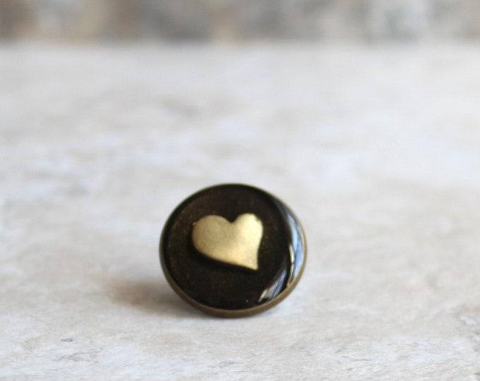 black gold heart lapel pin, heart tie tack, mens jewelry, valentine gift, anniversary gift, unique gift, heart jewelry, wedding jewelry