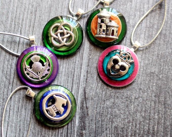Scotland ornaments, set of 5, table top tree ornaments, miniature tree, Scottish thistle, Scotty dog