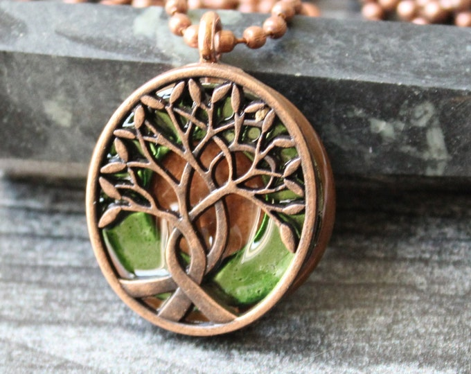 tree of life necklace, moss green, celtic pendant, boyfriend gift, celtic tree, mens jewelry, mens necklace, unique gift, gift for him