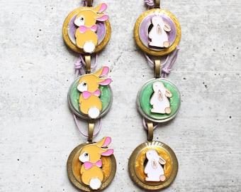 bunny rabbit Easter tree ornaments, set of 6, table top tree ornaments, spring tree decorations, miniature tree