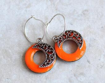 glow in the dark crescent moon earrings on sterling silver hoops