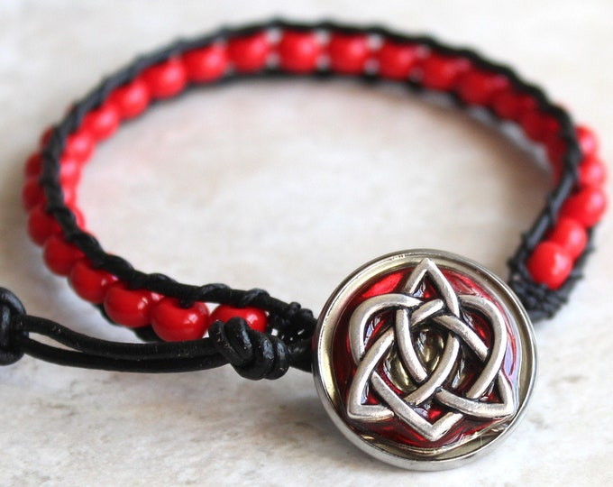 Celtic sister knot bracelet with red glass beads and leather cord, Valentine gift