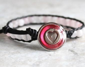 pink heart bracelet with rose quartz beads