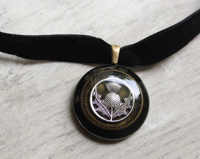 Scottish thistle necklace, velvet ribbon choker necklace