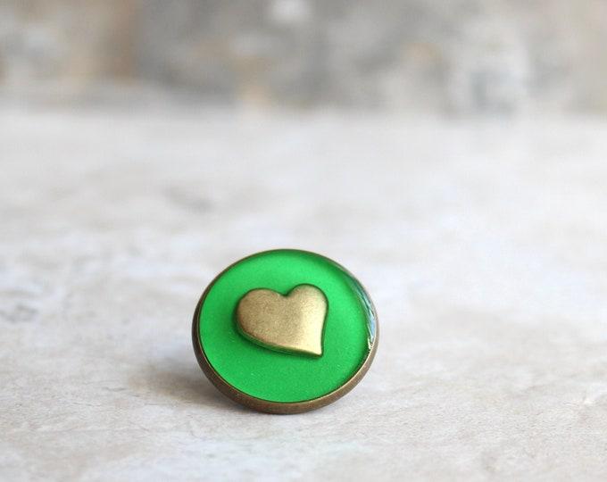 bright green heart lapel pin, heart tie tack, mens jewelry, valentine gift, anniversary gift, unique gift, heart jewelry, wedding jewelry