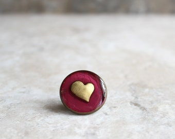 wine heart lapel pin, heart tie tack, mens jewelry, valentine gift, anniversary gift, unique gift, heart jewelry, wedding jewelry