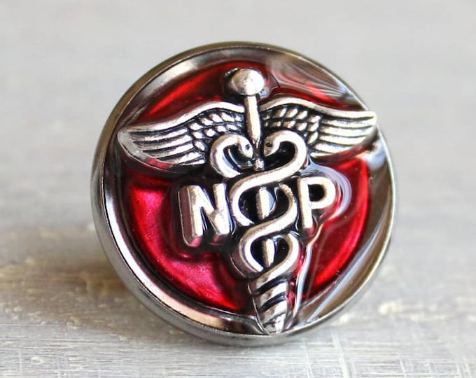 nurse practitioner pin, red, NP pinning ceremony