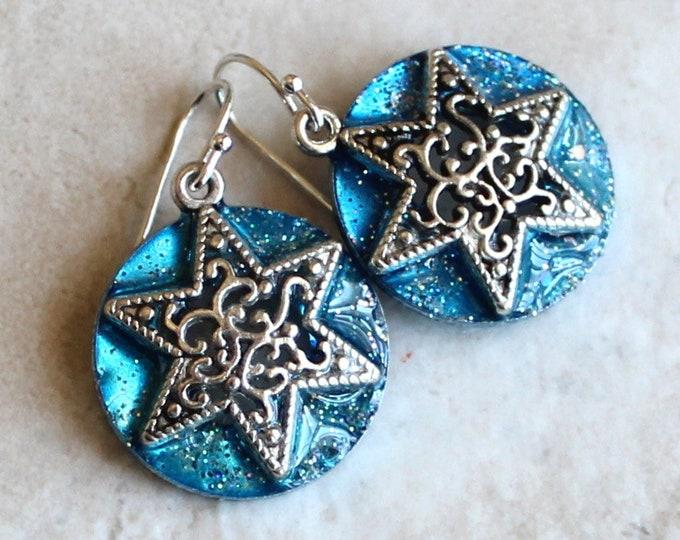 star earrings on sterling silver ear wires